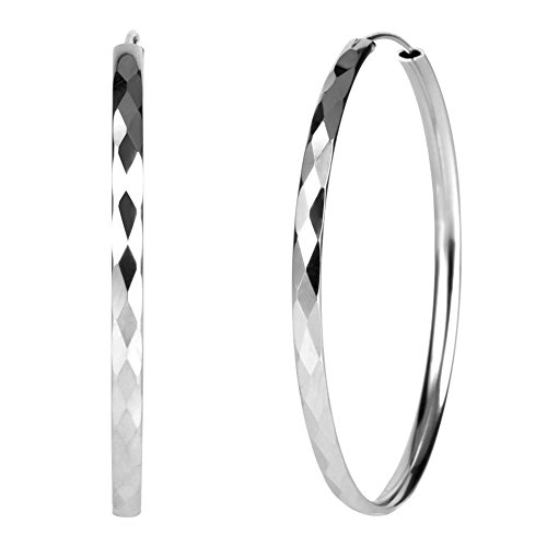 925 Sterling Silver Diamond-Cut Hoop Earrings, 50mm Diameter