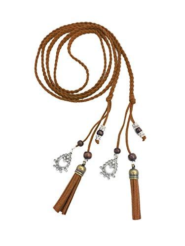 Cinturón de cintura para mujer exótica / Cuerda / cadena con borla y cuentas (L, marrón)
