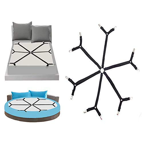 GOODTIMES Update Bed Sheet Clips, Adjustable Sheet Straps Suspenders Gripper Fastener, 6 Sides Triangle Heavy Duty Fuit for Round and Square Mattress Cribs and Shape, Keeping Your Sheets in Place