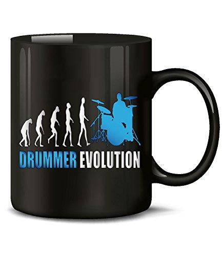 Golebros Drummer Evolution Musik 2045 Geburtstag Schlagzeuger Geschenk Fun Tasse Becher Kaffeetasse Kaffeebecher Schwarz-Blau