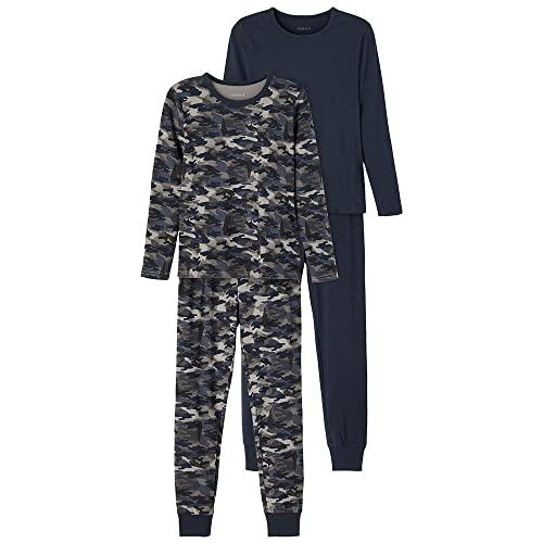 NAME IT Jungen NKMNIGHTSET 2P Dark Sapphire CAMO NOOS Pyjamaset, 158-164