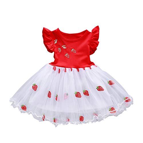 YWLINK Vestido De Manga Corta Para NiñAs,Vestido De Princesa De Hilo De Red Bordado De Fresa Para NiñOs Ropa NiñA Dulce Flor Vestidos NiñA Fiesta Sin Mangas Tutú Princesa Vestido
