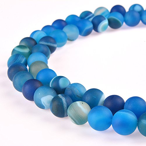 PLTbeads Gorgeous Blue Stripe Agate Natural Gemstone Loose Beads 8mm Matte Round Approxi 15.5 inch DIY Bracelet Necklace For Jewelry Making