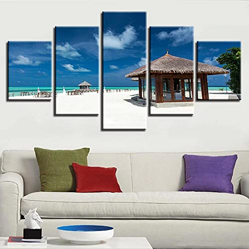 DUODUOQIAN Träpaviljong och strand blå himmel 5 paneler väggkonst flerdelar kanvastryck bild inramad konstverk målning bild foto för kontor sovrum heminredning födelsedagspresent (152 x 81 cm)