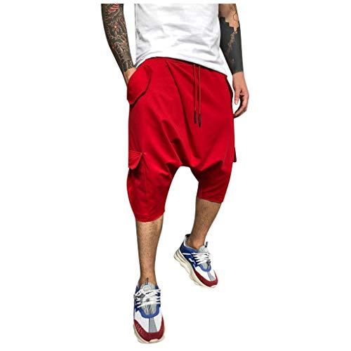 Pantalon Loose Slim Fit Solid Color Causal Pocket Longueur Pantalons RéTro DéContractéS pour Hommes Pantacourt Confort LâChe Sarouel Taille Casual 3/4 Shorts Bermudas Printemps éTé(Rouge,XXL)