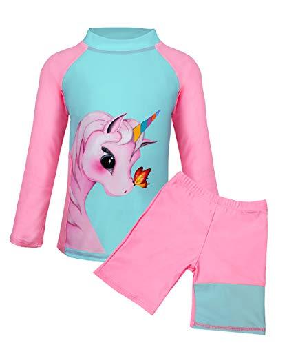 Suyye Zweiteilige Badeanzüge für Mädchen mit Rashguard und Tankini für Kinder - Pink - 3-4 Jahre
