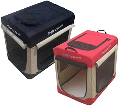 """Croft Classic Fabric 30"""" Soft Dog Puppy Cage Folding Crate with Fleece Liner and Carry Case,Choice of colours Red and beige or Black and beige. (Black and Beige) by Croft Products"""