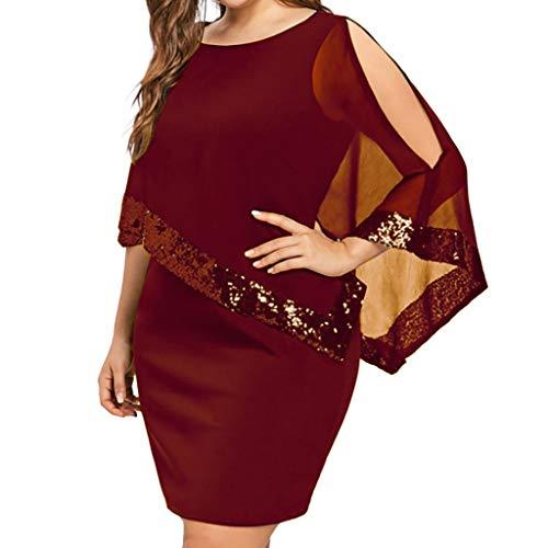 iYmitz Damen Übergröße Kleid Ärmellos Minikleid Chiffon Cocktailkleid Pailletten Pencil Partykleid Casual Kleidung Abendkleid Frauenkleid O-Neck Kleid für Frauen