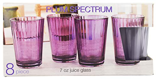 Set of 8 Circleware Plum Color Drinking Glasses - Heavy Base Tumbler - Home & Kitchen Entertainment Glassware