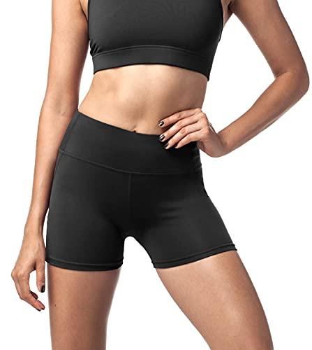 LAPASA Damen Sport Kurz Leggings, Yoga Tights Shorts, Blickdicht Figurformend Übergroße Stretch, 1 bis 2 Pack, mit Tasche L09 (Schwarz (Super Opak), L)