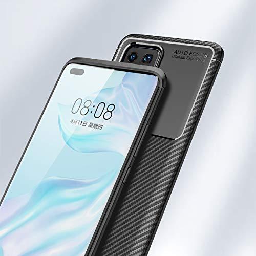 MISKQ Hülle für Huawei P40 Pro, Stoßfest Handyhülle Schutzhülle Shock Absorption Cover Ultra Schlank Softschale Silikon TPU (Brown) - 5