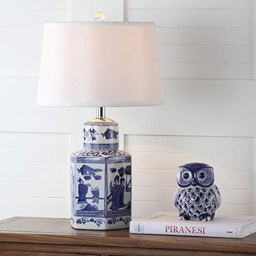 "Safavieh Lighting Judy 24-inch White and Blue Chinoiserie (Set of 2) -Bulbs Included Table Lamp, 23.5"" -  LIT4243A-SET2"
