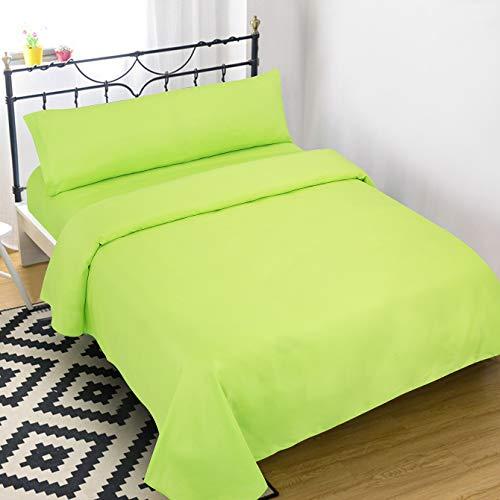 Dalina Textil Juego de Sábanas para Cama 3 Piezas - 1 Sábanas Bajera Ajustable Cama 150cm con Encimera 230x260cm y 1 Funda de Almohada Larga ( Cama de 150x190-200cm Verde Limón)