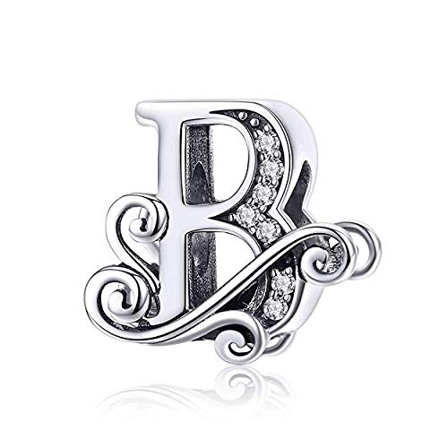 Genuine 925 Sterling Silver Initial A-Z Alphabet Bead 26 Letter Charms for Pandora Bracelet Jewellery (B)