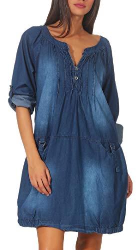 Malito Damen Jeanskleid | Maxikleid mit Taschen | schickes Freizeitkleid - Kostüm 6255 (blau)