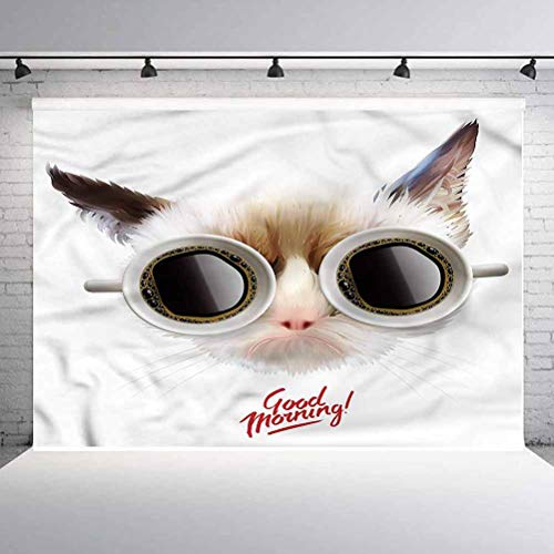 10x10FT Vinyl Photo Backdrops,Funny,Funny Cat with Cups of Coffee Photo Background for Photo Booth Studio Props