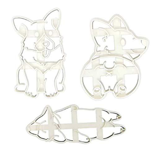 YARNOW - 3 moldes corgi para galletas de plástico para perro, diseño mixto