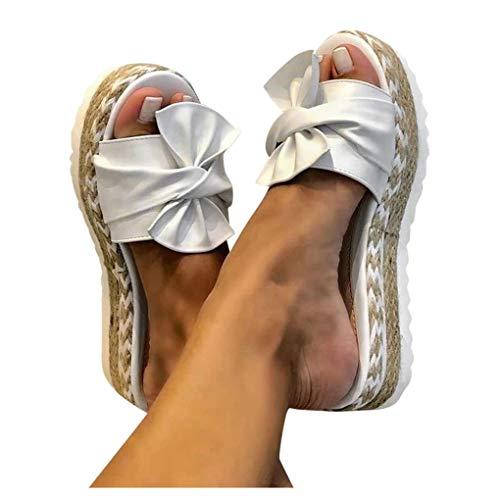 Dorical Frauen Peep Toe Schleife Flatform Sandalen Damen Plateau Keilabsatz Sommer Schuhe Webschuhe Slip-On Pantoletten Atmungsaktive Sandalen Beach Sandaletten