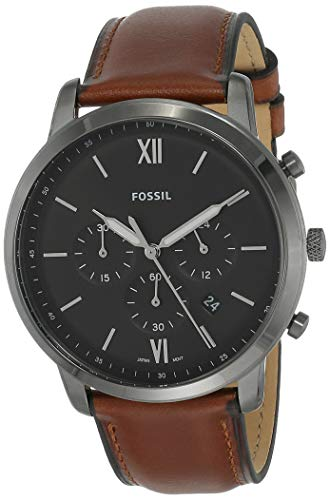 Fossil Men's Neutra Quartz Stainless Steel and Leather Chronograph Watch, Color: Smoke, Amber (Model: FS5512)