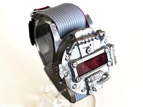 ExDeeba Swordfish/ソードフィッシュ サイバーパンク デジタル 腕時計 時計作家KS(篠原康治) 手作り時計のJHA (グレー)