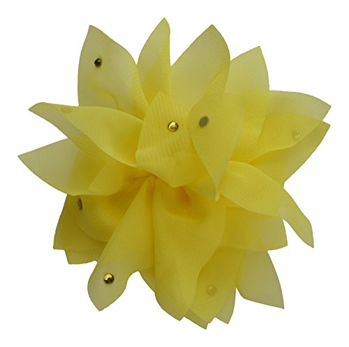 PLH Bows Chiffon Clippie with Stones (Yellow)