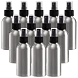 YOUEON 12 Pack 4 Oz Fine Mist Spray Bottles, Aluminum Refillable Atomizer Bottles, Empty Reusable Bottles with Sprayers for Travel, Cosmetic Perfume, Toner, Face Spray, Essential Oil Storage