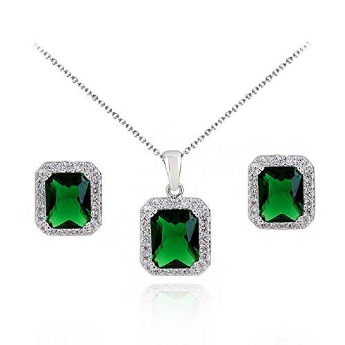 Juego de joyas con Esmeralda simulada verde Cristales austríacos de Z