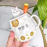 HRDZ Tazza in Ceramica Simpatico e Simpatico Cartone Animato con Coperchio Cucchiaio Tazza di Latte caffè Colazione Ragazza Carota