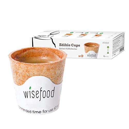 Wisefood - Essbare Becher - Essbarer Coffee-to-Go-Becher als Alternative zu Pappbecher Einwegbecher Kaffeebecher 110ml - 10 Stück