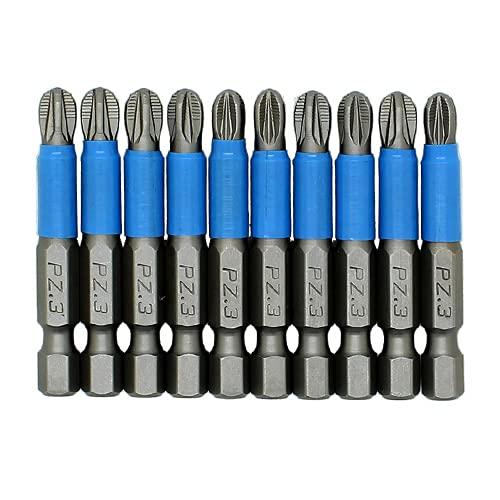 10pc 50mm PH1 PH3 Juego de brocas de destornillador magnético 1/4'Vástago hexagonal Antideslizante Accesorios para herramientas eléctricas-10PC 50mm PZ3