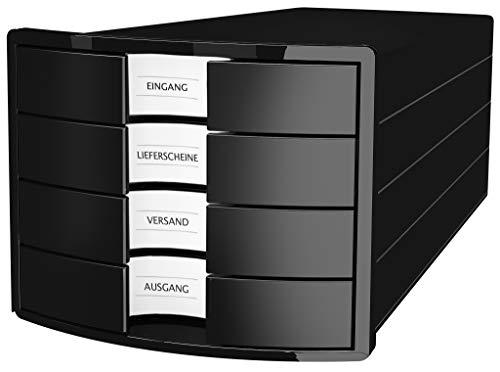 HAN Schubladenbox IMPULS 2.0 – innovatives, attraktives Design in höchster Qualität. Mit 4 geschlossenen Schubladen für DIN A4/C4, schwarz, 1012-13