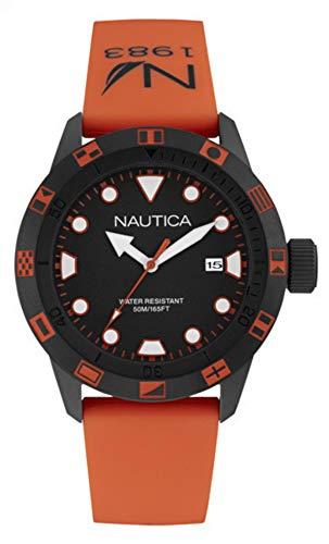 Nautica Herren Analog Quarz Uhr mit Silikon Armband NAI10077G