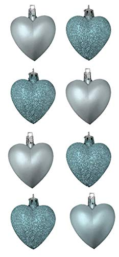 Toyland 8 x 5cm Ice Blue/Baby Blue Coloured Matt Heart Shaped Christmas Tree Baubles