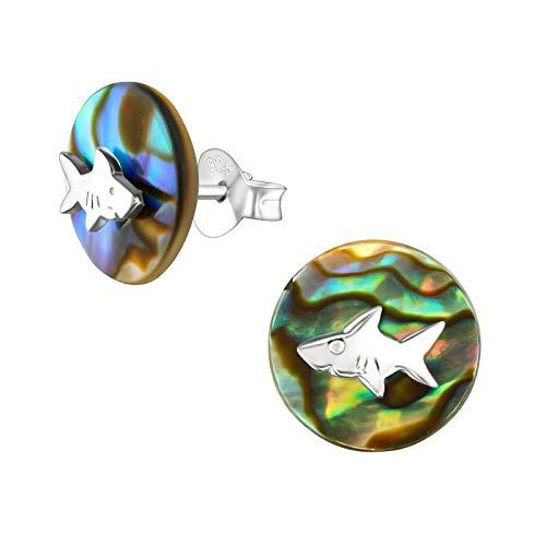 Monkimau Orecchini bambina Orecchini pesce squalo in argento sterling 925 con imitazione di conchiglia