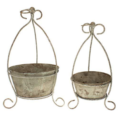 Macosa EX234273 Lot de 2 pots de fleurs ronds style shabby chic Marron/beige