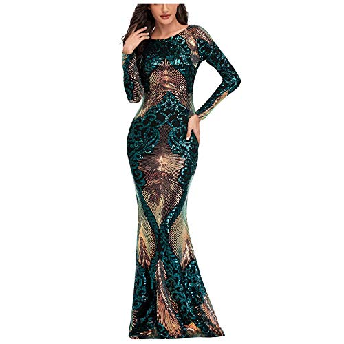 BIBOKAOKE Feestjurk voor dames, lange mouwen, ronde hals, partyjurk, elegante baljurk, glanzende pailletten, lange jurken, zeemeerminzoom, cocktailjurk, slanke maxi-jurk.