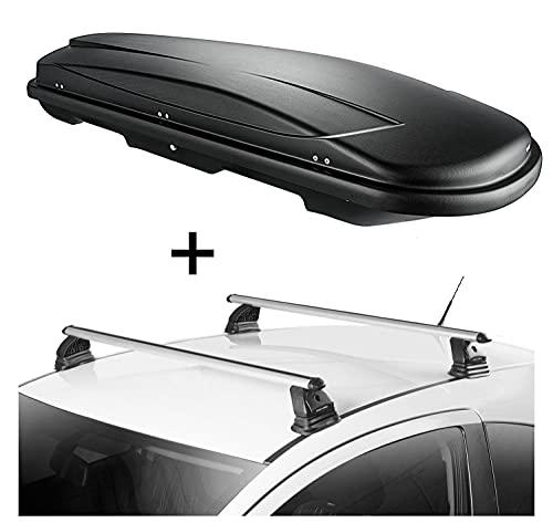 Dachbox VDPJUXT600 600 Liter abschließbar + Dachträger VDP EVO ALU kompatibel mit Opel Zafira C (Tourer) 5 Türer 2011-2018