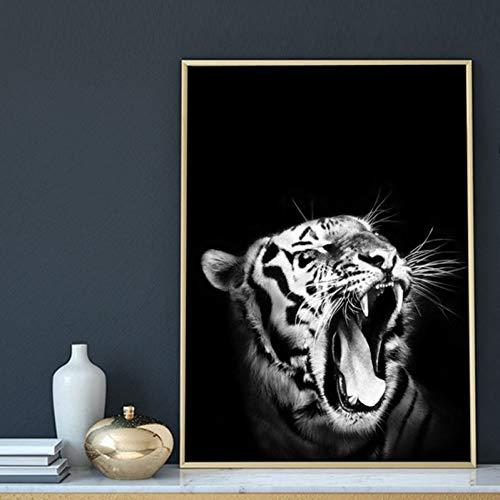GUDOJK dekorativa målningar vit tiger ryr affischer och tryck nordisk konst djur canvas målning svarta vita väggbilder för vardagsrum heminredning – 40 x 60 cm