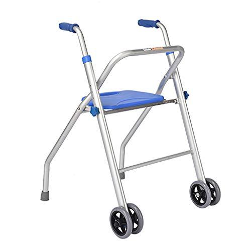Andador para Discapacitados De AleacióN De Aluminio, Andador Plegable De Altura Ajustable con 2 Ruedas, Adecuado para Personas con ObstáCulos De Movilidad