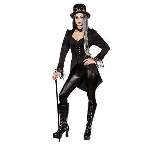 NET TOYS Gothic Frack Damen Steampunk Gehrock schwarz 48 (XL) Dark Fashion Mantel Viktorianischer Blazer
