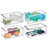 mDesign Juego de 4 organizadores de maquillaje apilables – Práctica caja transparente de plástico con tapa abatible – Organizador de baño para cosméticos y maquillaje – transparente
