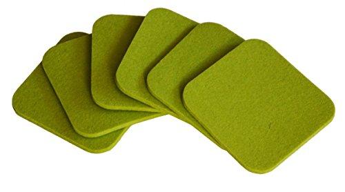 myFilz - 6er Set Filzuntersetzer 10 x 10 cm aus 5 mm Wollfilz quadratisch Limone