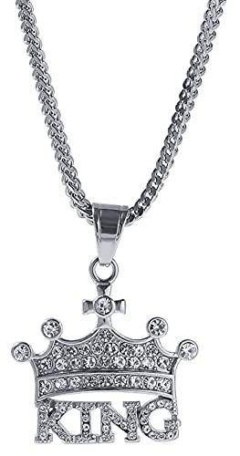 MAFYU Corona Rey Colgante Collar Hip Hop Accesorios de Diamantes de imitación de Acero Inoxidable Regalos Bonitos para Hombres Mujeres niños niñas Silver-One Size