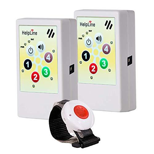 Preisvergleich Produktbild Helpline 2.0: Mobiler Hausnotruf (2X) mit wasserdichtem (1x) Notruf Armband; Notrufknopf für Senioren,  Kranke und Pflegebedürftige; Senioren Notruf mit SOS Armband; Pflegeruf Set + Notrufarmband
