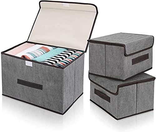 DIMJ Cajas de almacenaje Plegable, Conjunto de 3 Cajas Organizadoras Tela, Cubos de Almacenamiento con Ventana Transparente, Organizadores de Contenedore para Ropa Juguetes Libros (Gris)