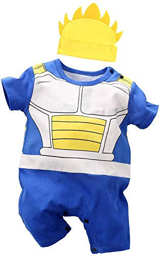 Vegeta Outfit Baby, Cute Infant Dragon Ball Cosplay Romper Toddler Costume Newborn Clothes (Blue, 3-6 Months)