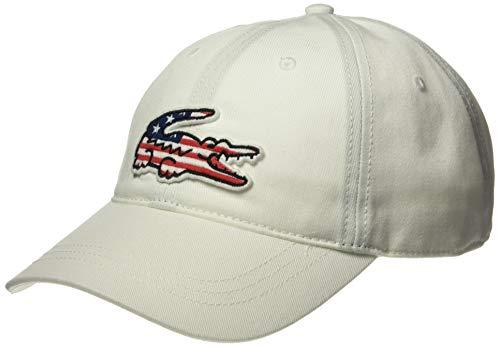 Lacoste Herren Mens Big Croc USA Gabardine Baseball Cap, weiß, Einheitsgröße