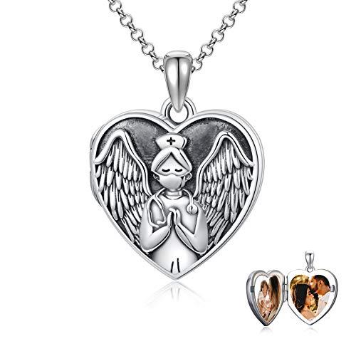 Collar con medallón para enfermera, con diseño de corazón