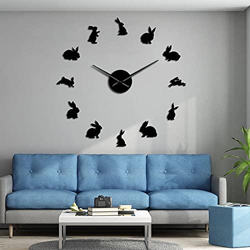 Conejos, sin Marco, Bricolaje, Grandes Relojes de Pared, Arte de Pared de guardería, Espejo, Pegatinas de Pared, habitación de niños, decoración del hogar, Reloj de Pared, Reloj de Conejito de Pas