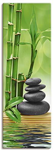 Artland Leinwandbilder auf Holz Wandbild 40x120 cm Hochformat Natur Zen Steine Spa Wellness Entspannung Bambus Feng Shui Buddhismus T5OP
